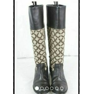 Sz.5.5 Womens Coach Monogrammed Chrissi Boots